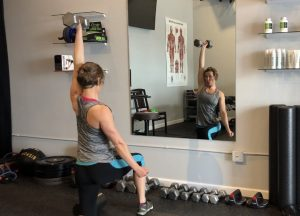 Dr Laura trying out the Gym 22 Workout of the Day